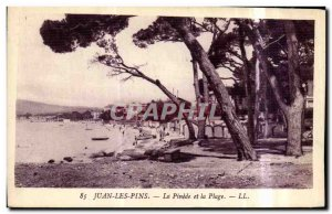 Old Postcard Juan les Pins and Pinede Beach