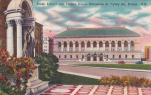 Massachusetts Boston Public Library and Phillips Brooks Monument At Copley Sq...