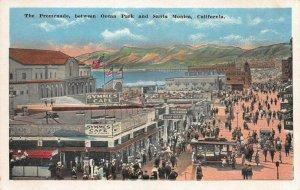 The Promenade Between Ocean Park and Santa Monica, CA, Early Postcard, Unused