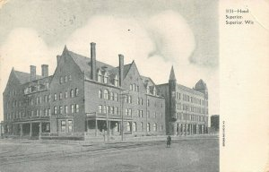 Superior WI Man Across Trolley Tracks From Hotel~Skinny Tower & Chimneys c1906