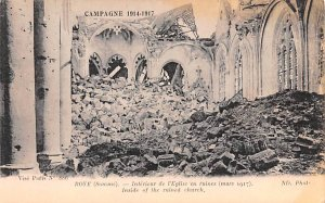 Interiur de l'Eglise en ruine Roye France Writing on back