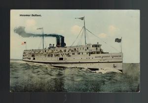 1913 Mint Vintage England HSM Belfast Steamer Ship Picture Postcard