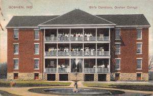 Goshen Indiana~Goshen College Girls Dormitory~Ladies Line Up On 3 Porches~1912