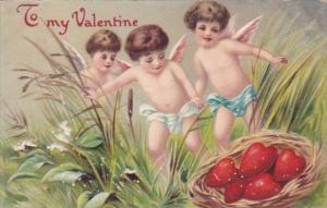 Valentine's Day Cupids Finding Basket Of Hearts 1911