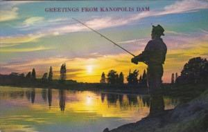 Greetings From The Kanopolis Dam With Man Fishing At Sunset