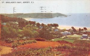 JERSEY CHANNEL ISLANDS UK~ ST BRELADES BAY PANORMIC VIEW POSTCARD 1950s