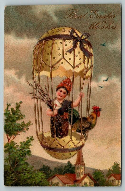 PFB Easter Fantasy~Girl & Rooster~Egg Shell Hot Air Balloon~Gold Emboss~No 7491