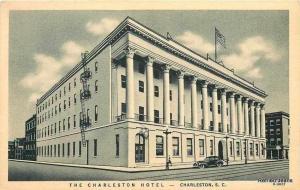 The Charleston Hotel South Carolina~Fire Escapes~Trolley Tracks~1935 Postcard
