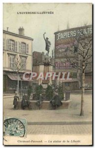 Old Postcard Statue of Clermont Ferrand Auvergne freedom