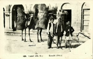 pakistan, KARACHI, Camel with Hay (1957) RPPC Postcard