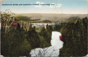 Coaticook River & Electric Power Coaticook Quebec QC Postcard D68