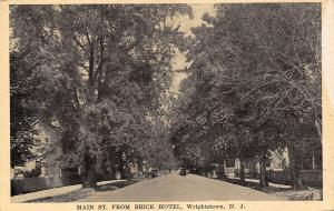 Wrightstown New Jersey~Main St From Brick Hotel~Shade Trees~Simple Houses~c1915