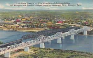 Tennesse Memphis Aerial View Of The New Memphis And Arkansas Bridge 1950