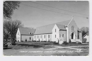 RPPC REAL PHOTO POSTCARD NEBRASKA FALLS CITY CHRIST LUTHERAN CHURCH FRONT EXTERI