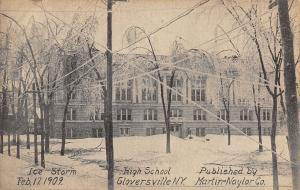 Gloversville NY~Icy Wires After Storm Criss-Cross At Old High School~1909 B&W