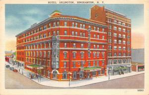 Binghamton New York~Hotel Arlington~People @ Entrance~Parked Cars~1940s Postcard