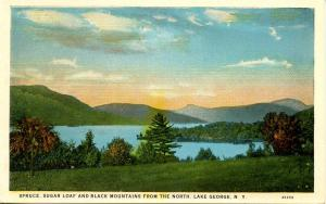 NY - Lake George. Spruce, Sugar Loaf and Black Mountains
