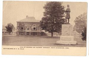 South Manchester CT Soldiers Monument Civil War Hall Records