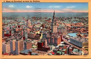Ohio Cleveland Airplane View Heart Of The City 1954