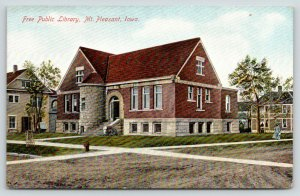 Mount Mt Pleasant Iowa~Romaneque Tower on Carnegie Free Library on Main St~c1909