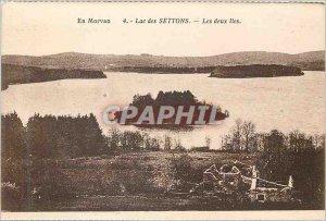 Old Postcard En Morvan Settons Lake Two Islands