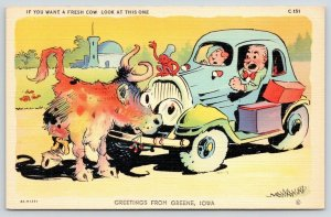 If You Want A Fresh Cow Come to Greene Iowa~Blocks Car~Gremlin on Hood~1934