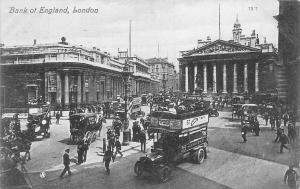 London, Bank of England, carriages, bus truck car busy animated 1907