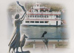 Savannah Georgia Boat Ship Legend Of The Waving Girl Florence Martus Postcard