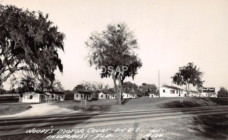 Florida Fl Real Photo RPPC Postcard c40s INVERNESS Woody's Motor Court Roadside