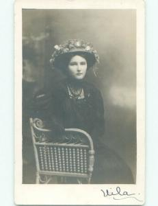 Pre-1918 rppc FASHION - WOMAN IN FANCY HAT Studio In Galesburg Illinois IL i9316