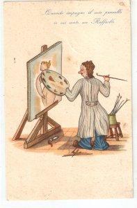 Painting a nude woman Humorous vintage Italian postcard