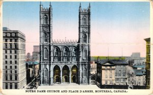 Notre Dame Church And Place d'Armes Montreal Canada Cathedral Unposted Postcard