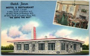Sanford, North Carolina Postcard DUTCH FARM RESTAURANT Route 1 Roadside Linen