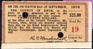 BOND COUPON FOR THE COUNTY OF KNOX ( Mount Vernon ) in the amount of $25. , 1928