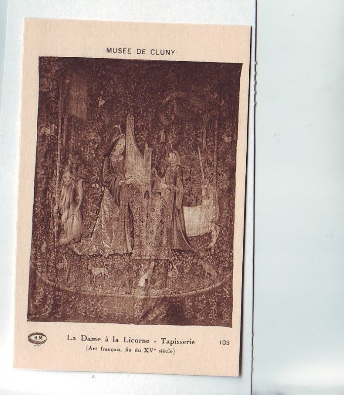 P1321 old art postcard unused unicorn horse other animals 2 women- tapisserie