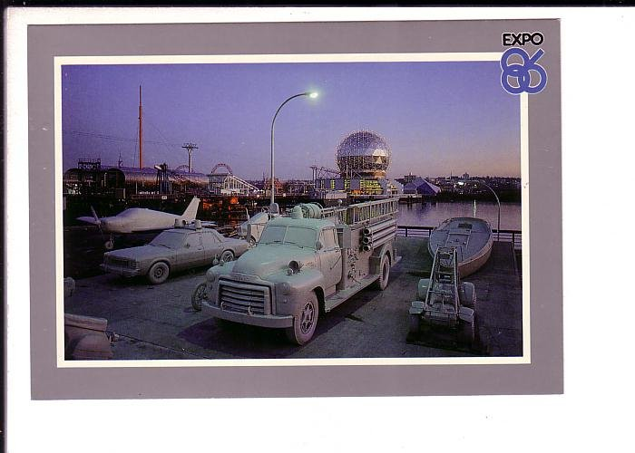 Highway 86, Firetruck, Airplane, Car, Expo 86 Vancouver, British Columbia,