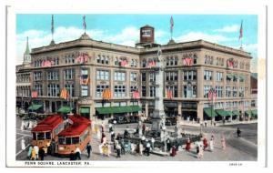 1938 Penn Square and Streetcars, Lancaster, PA Postcard