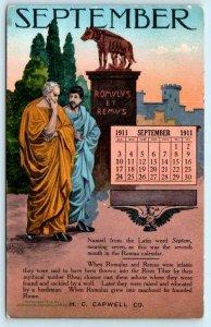 OAKLAND, CA ~ Advertising H.C. CAPWELL Calendar September 1911 Postcard