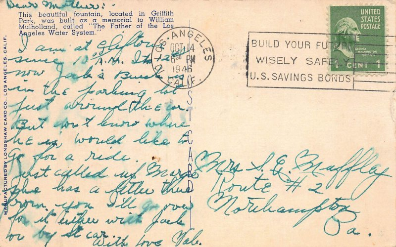 Mulholland Memorial Fountain, Griffith Park, Hollywood, CA, Early Postcard, Used