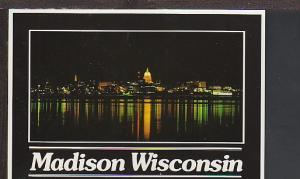 Night View Madison WI Postcard BIN