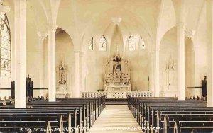 Interior New Catholic Church South Tacoma Washington 1910s Real Photo postcard