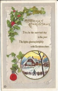 Christmas Post Card, Snow Covered Cottage Scene Man Coming Home Merry Christmas