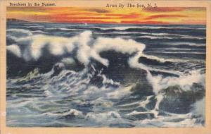 Breakers In The Sunset Avon By The Sea New Jersey 1951