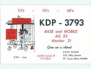 comic - QSL CB HAM RADIO CARD West Lynn Massachusetts MA t9857