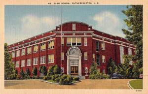 Rutherfordton North Carolina High School Linen Antique Postcard J46923
