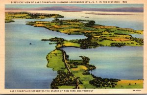 New York Lake Champlain Birds Eye View Curteich