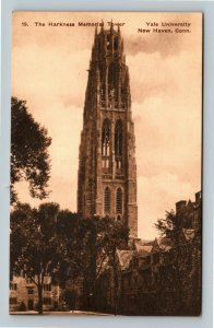New Haven CT, Yale University, Harkness Tower, Vintage Connecticut Postcard