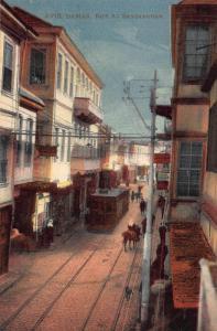 Syria Damas Rue al Sandjakdar Street Tram Horse Postcard