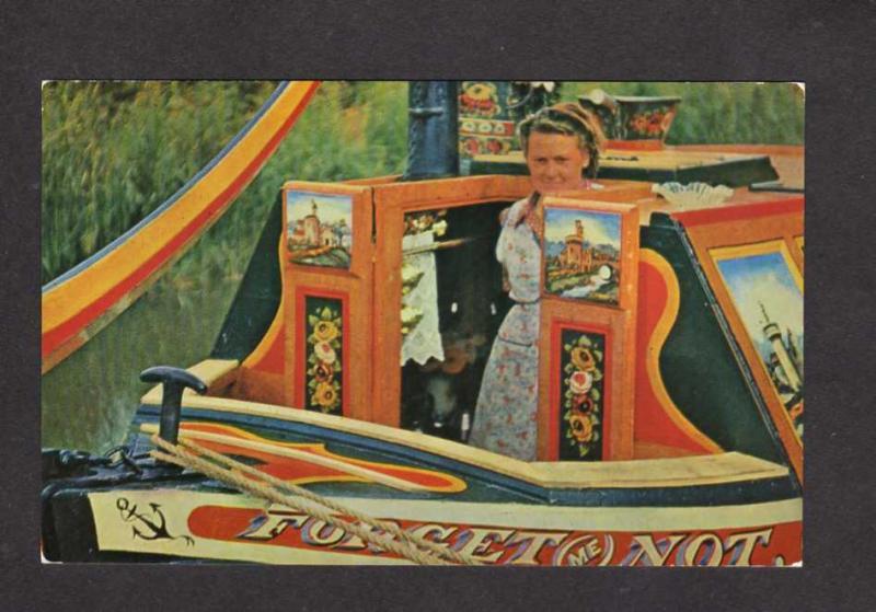 UK England British Narrow Boats Forget me Not Postcard Carte Postale Narrowboat