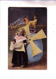 Little Girl, Dutch, Windmill on Large Easter Egg, Rooster, Eagle on Back